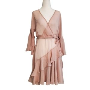 NWT French Connection Pale Pink Ruffle Sheer Dress